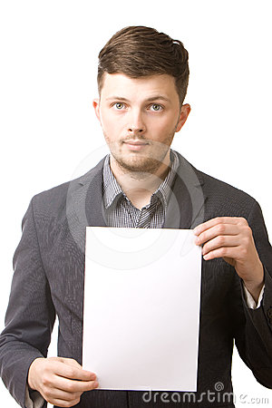 Business man holding a blank board