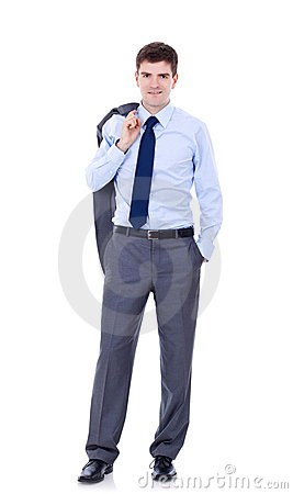 Business man holding coat over shoulders