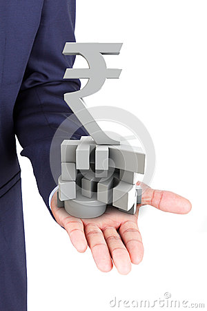 Business man holding currencies symbol