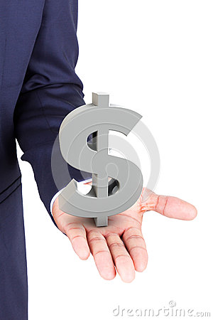 Business man holding dollar currency symbol