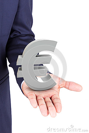 Business man holding euro currency symbol