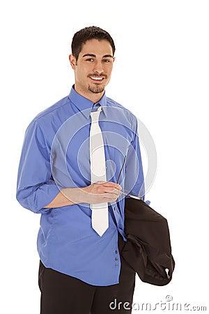 Business man holding glasses