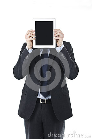 Business man holding iPad