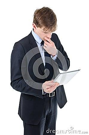 Business man holding iPad