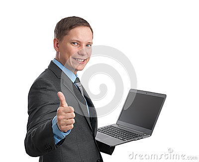 Business man holding laptop computer