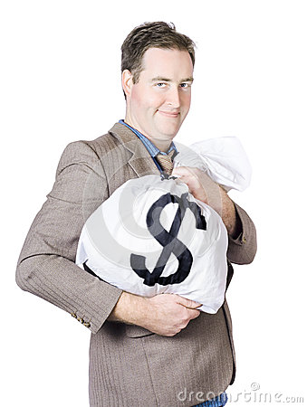 Free Business Man Holding Money Bag With Dollar Sign Royalty Free Stock Photo - 36456585