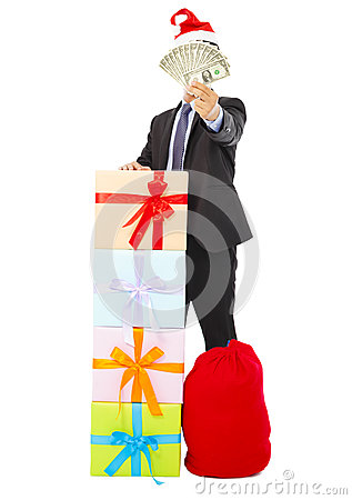 Free Business Man Holding Money With Gift Box And Bag Stock Photo - 44716800
