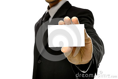 Business Man Holding Name Card