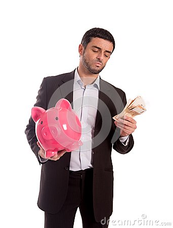 Business Man Holding Piggy Bank With Money Royalty Free ...