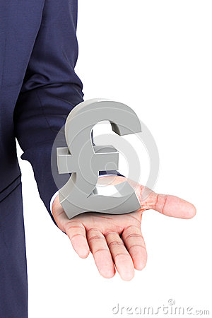 Business man holding pound currency symbol