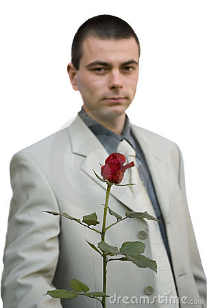 Business man holding rose