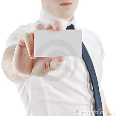 Business man holding and showing blank card