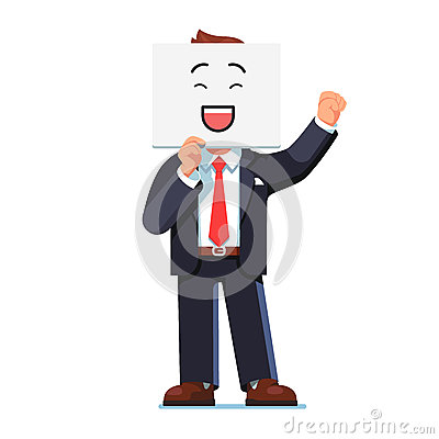 Free Business Man Holding Smiling Face Card Over Face Stock Photos - 91593533