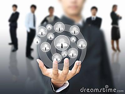 Business man holding social network