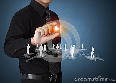 Business man holding social network icon