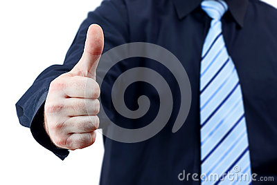 Business man holding thumb up