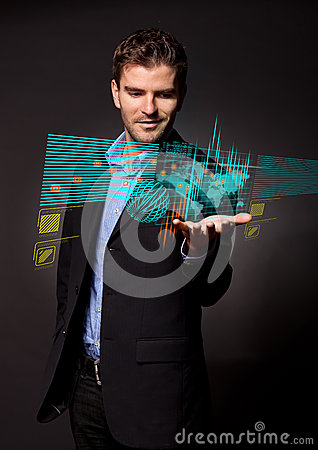 Business man holding virtual digital screen
