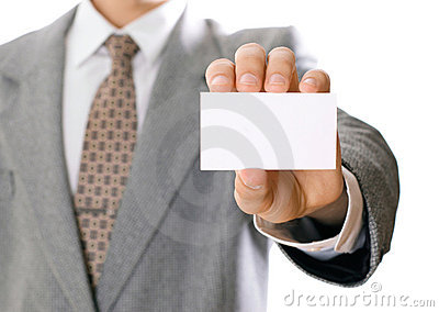 Business man holding visiting card