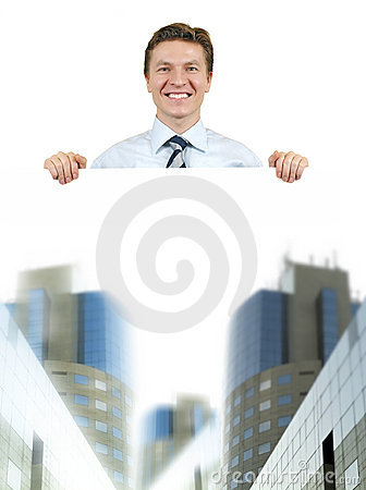 Business man holding a white board with corporate