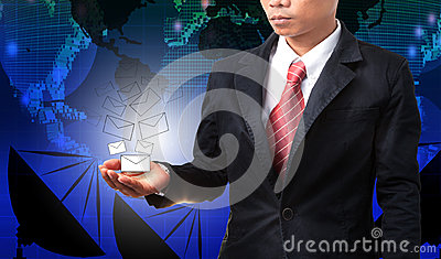 Business man holding white envelope of data and information with
