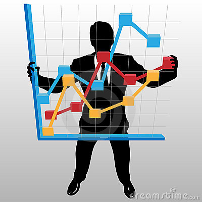 Business man holds financial profit growth chart