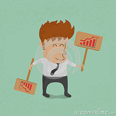 Business man holds the label Vector Illustration