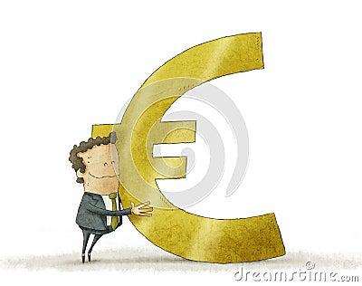 Business man hugging euro sign