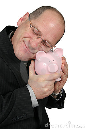 Business Man Hugging Piggy Bank