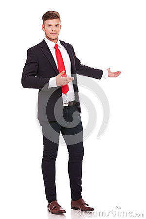 Free Business Man Inviting You In The Back Royalty Free Stock Image - 30515976
