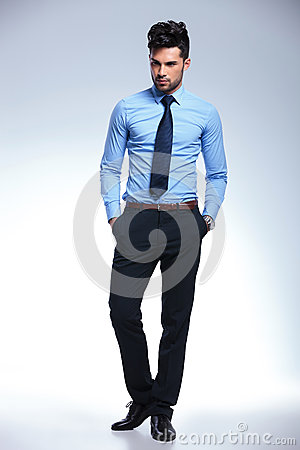 Business man without jacket with hands in pocket