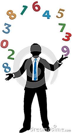 Business man juggling financial number crunching