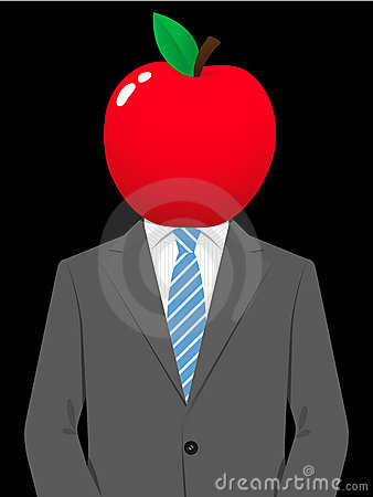 Business man with juicy apple head