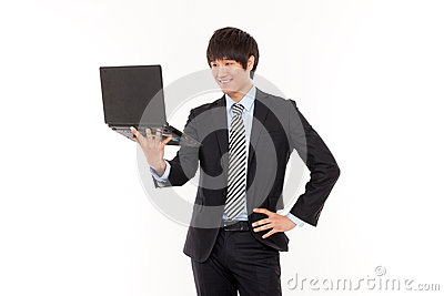 Business man and laptop.