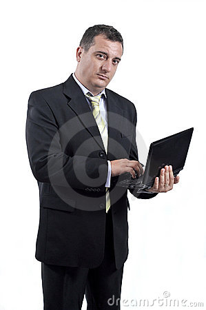 Business man with a laptop in his hands