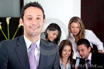 Business man leading a team