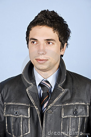 Business  man in leather jacket