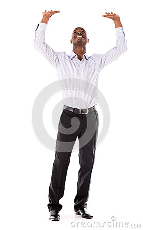 Business man lifting imaginary object