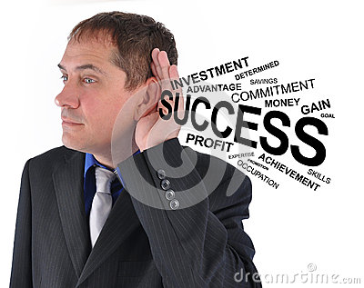 Business Man Listening to Success Help