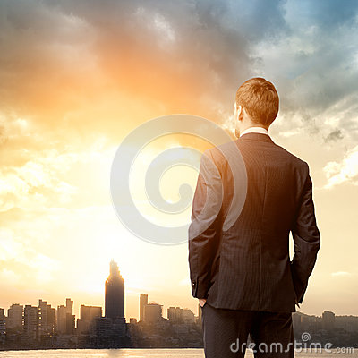 Free Business Man Look Sunrise Royalty Free Stock Photos - 38316618