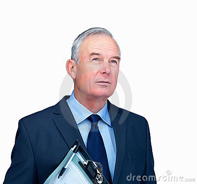 Business man looking away holding writing pad