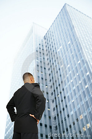 Business Man Looking At Building