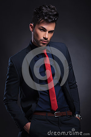 Free Business Man Looks At You With Hands In Pockets Royalty Free Stock Photo - 32878315