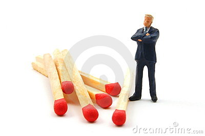 Business Man And Matches On White Stock Image - Image: 8164941