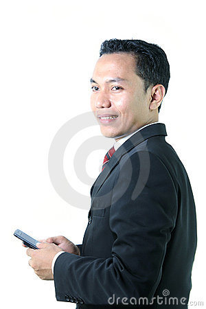 Business man with mobile device