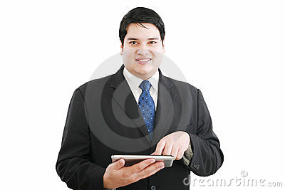 Business man with modern tablet