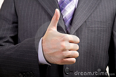 Business Man Offers Thumbs-Up