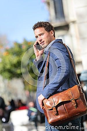 Free Business Man On Smart Phone, Barcelona Royalty Free Stock Photo - 38880575