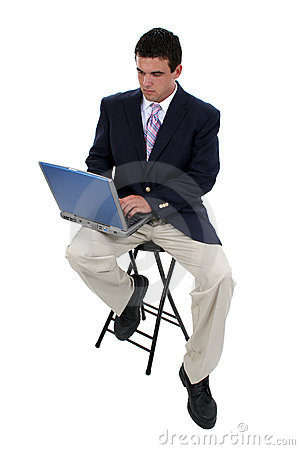 Free Business Man On Stool With Laptop Royalty Free Stock Images - 253739