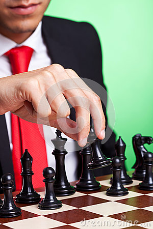 Free Business Man Playing Chess Black Makes First Move Royalty Free Stock Images - 26398839