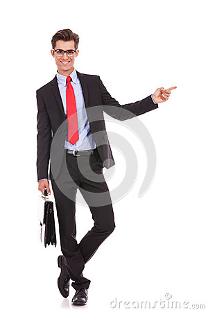 Business man pointing finger to his left side